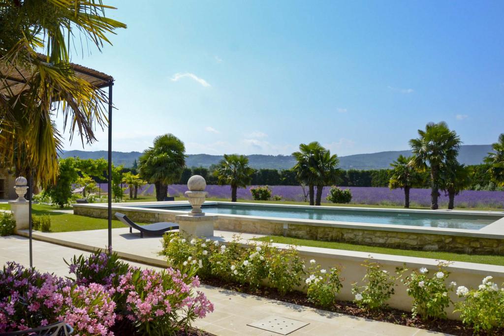 South-facing terrace, pool, lavender