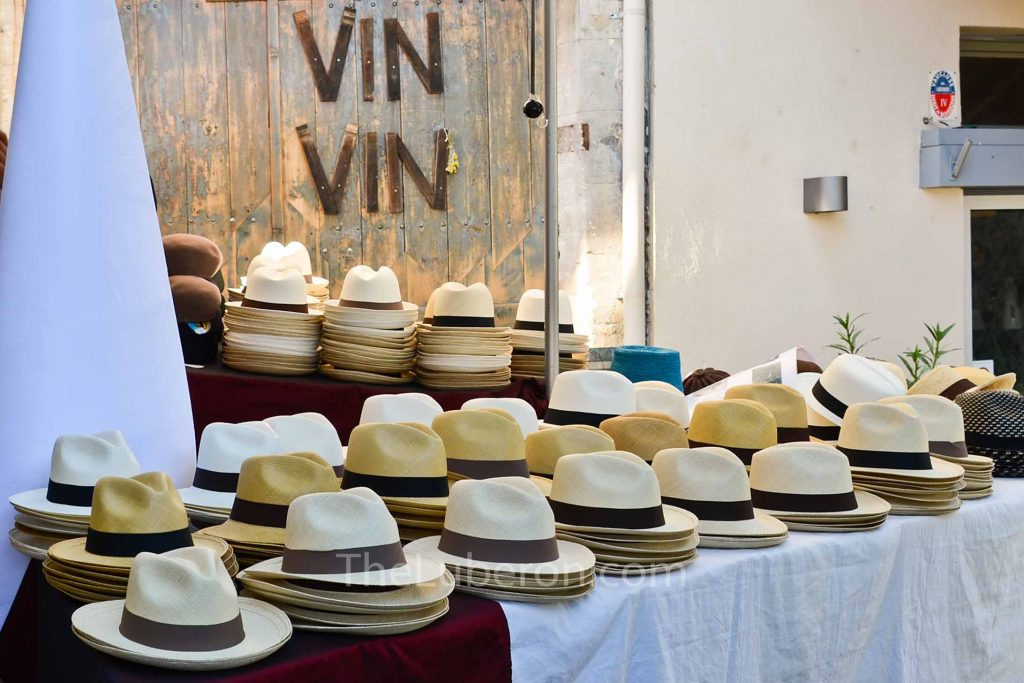 Hat stall at Bonnieux market
