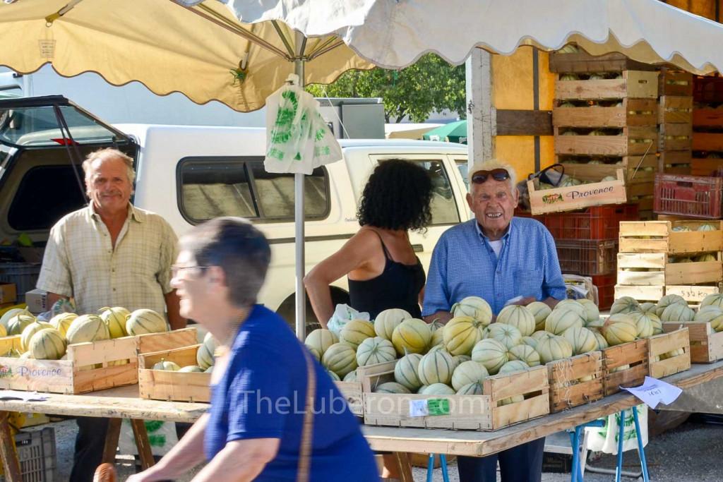 Melon stall in Coustellet farmers' market