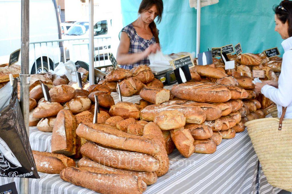 Bread stall at Coustellet Sunday market