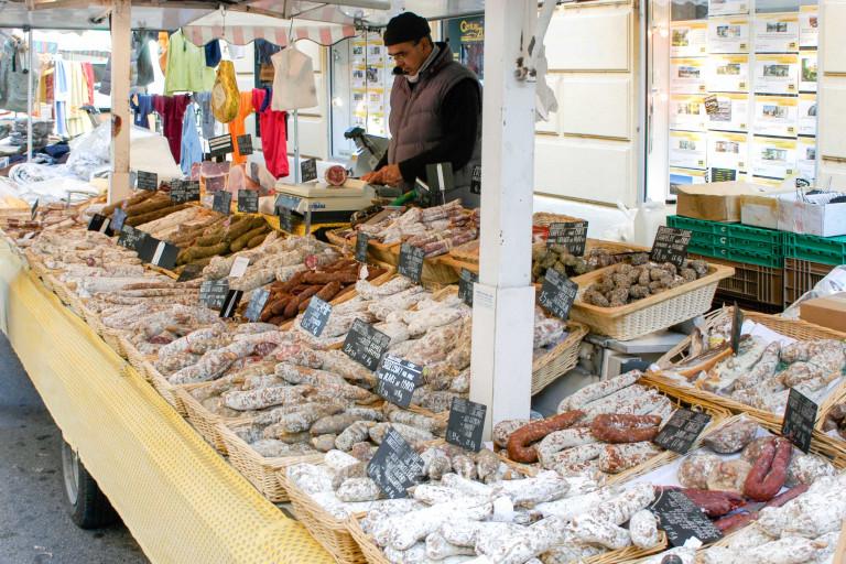Salami seller at Apt market