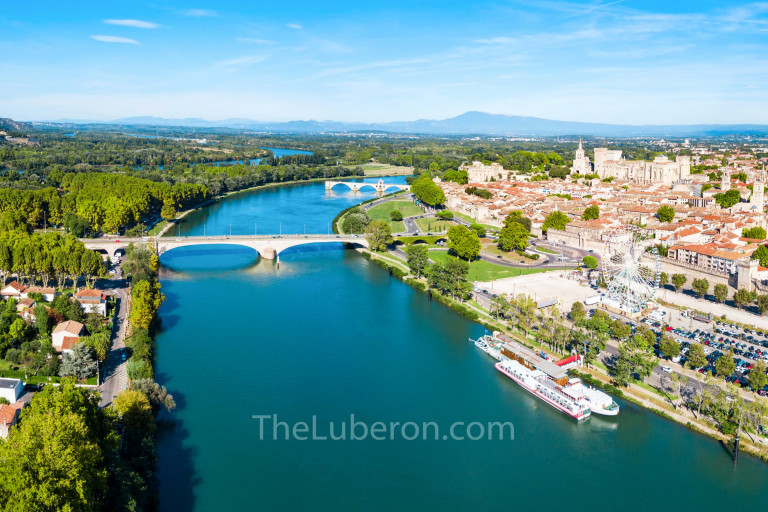 Aerial view of Avignon on the river Rhone