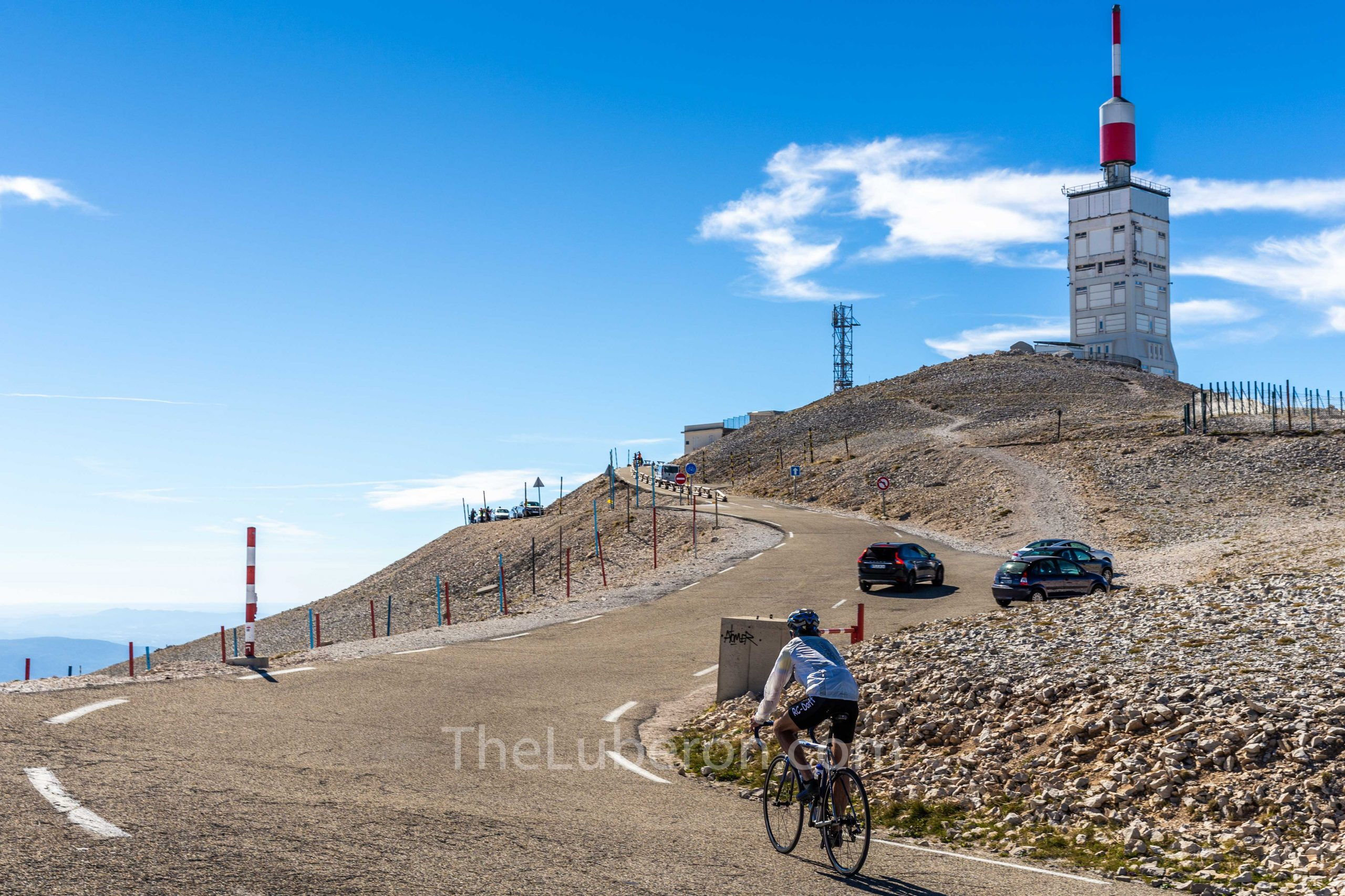 Cyclist near the top of Mt Ventoux