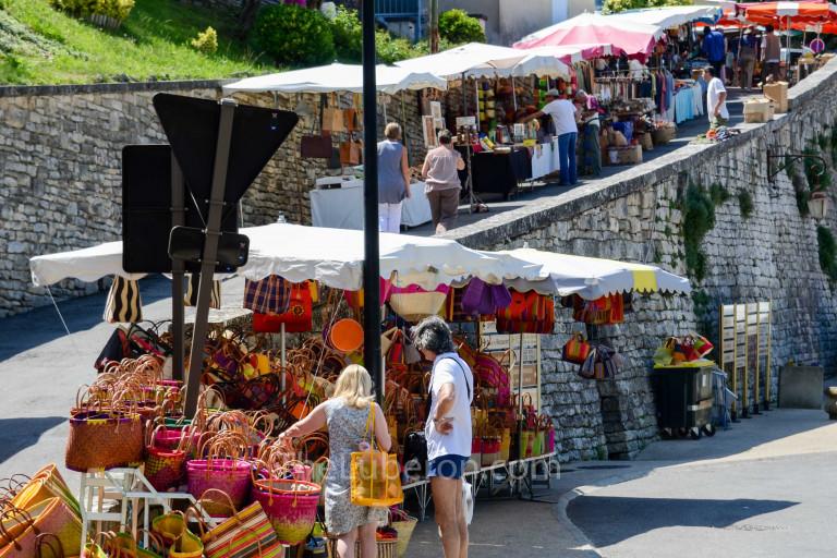 Stalls along the street at Bonnieux market