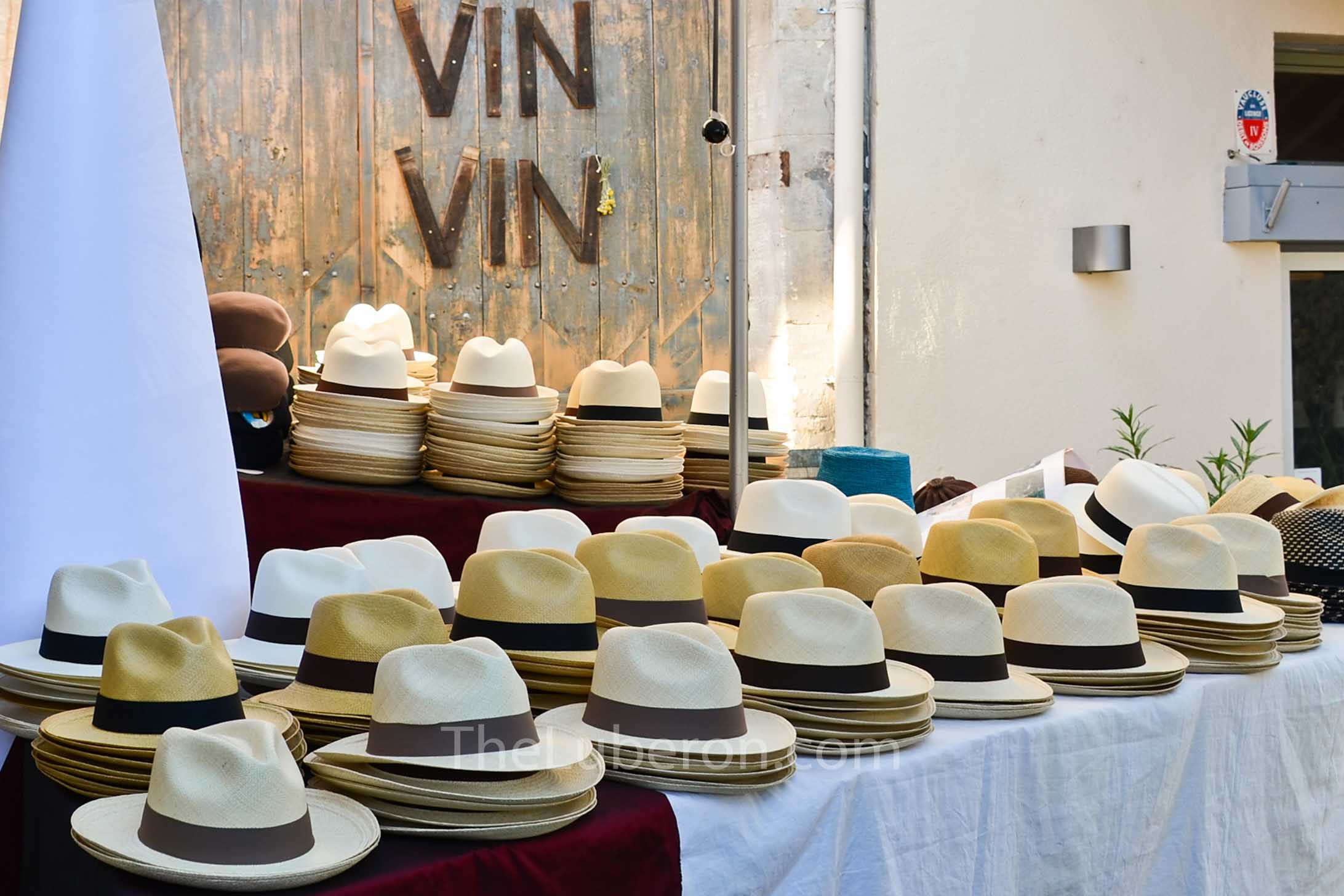 Hats for sale at Bonnieux market