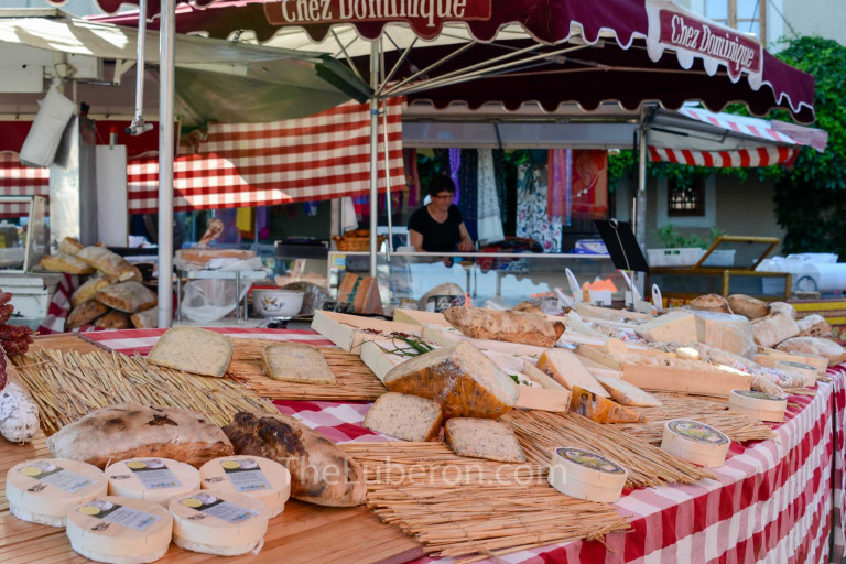 Cheese stall at Bonnieux market