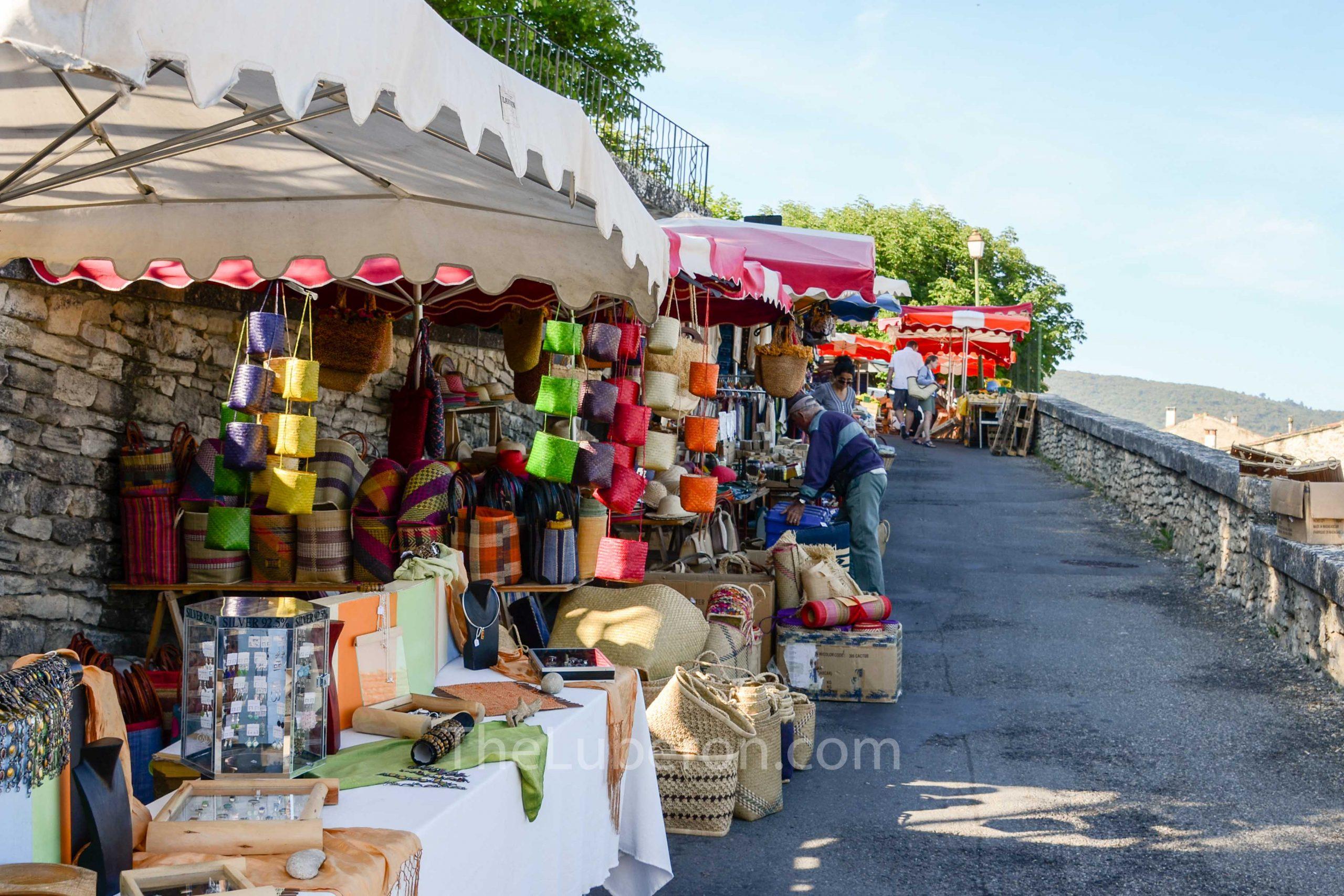 Stalls along road at Bonnieux market