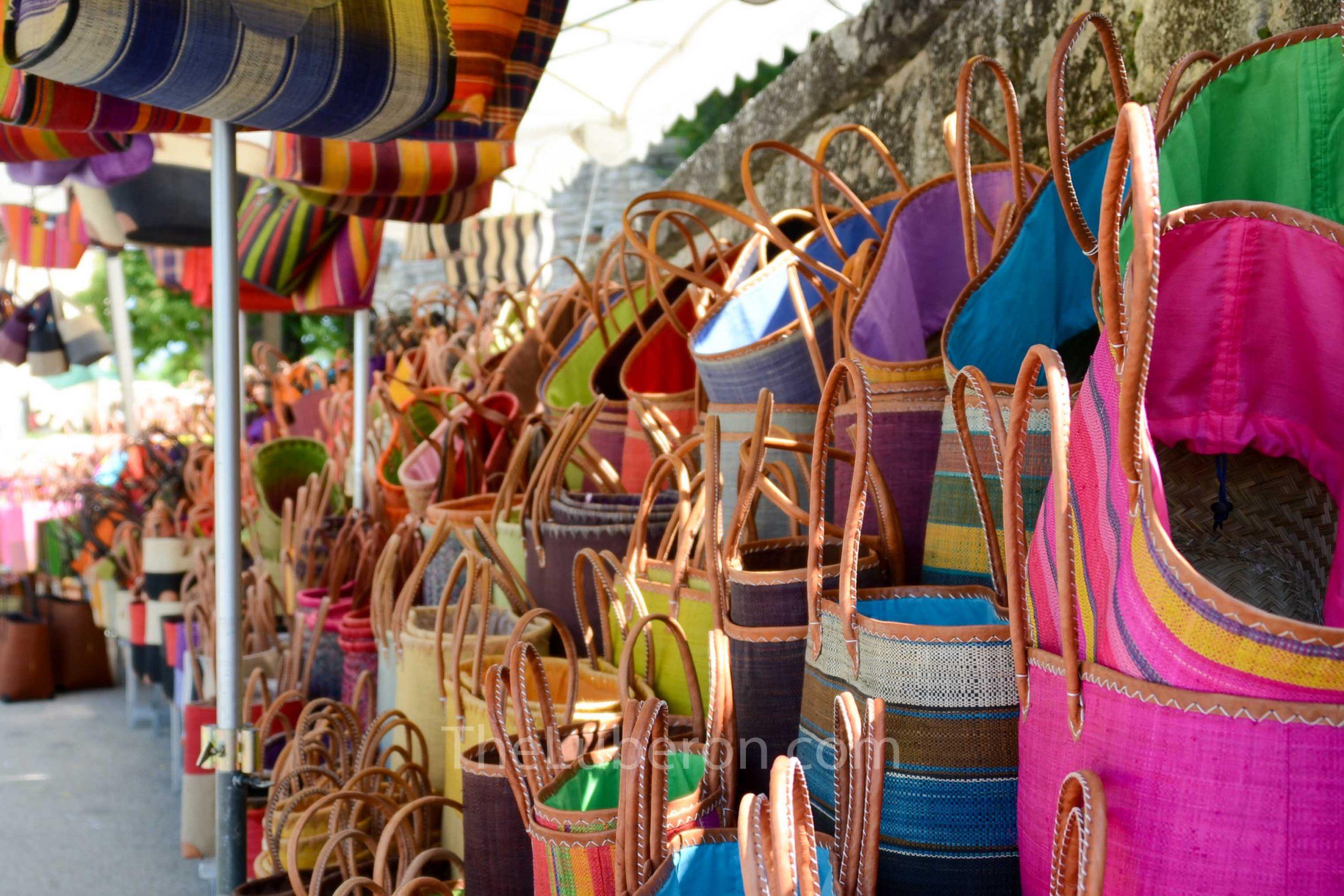Bags for sale at Bonnieux market