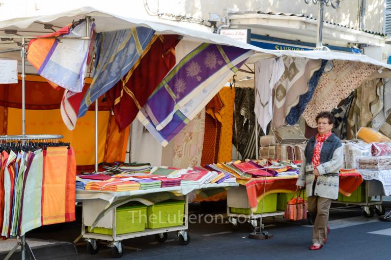 Fabrics stall at Cavaillon market