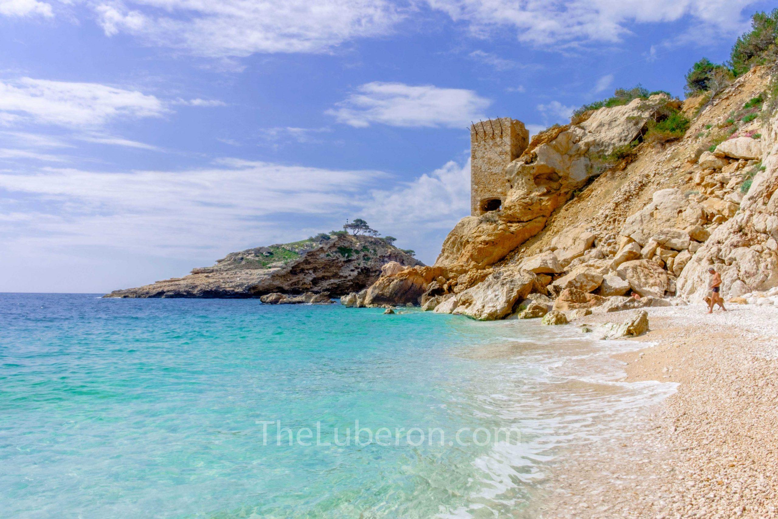 Tower and sea at Calanque de l'Everine, Cote Bleue