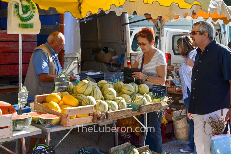 Melons on sale at Coustellet farmers' market
