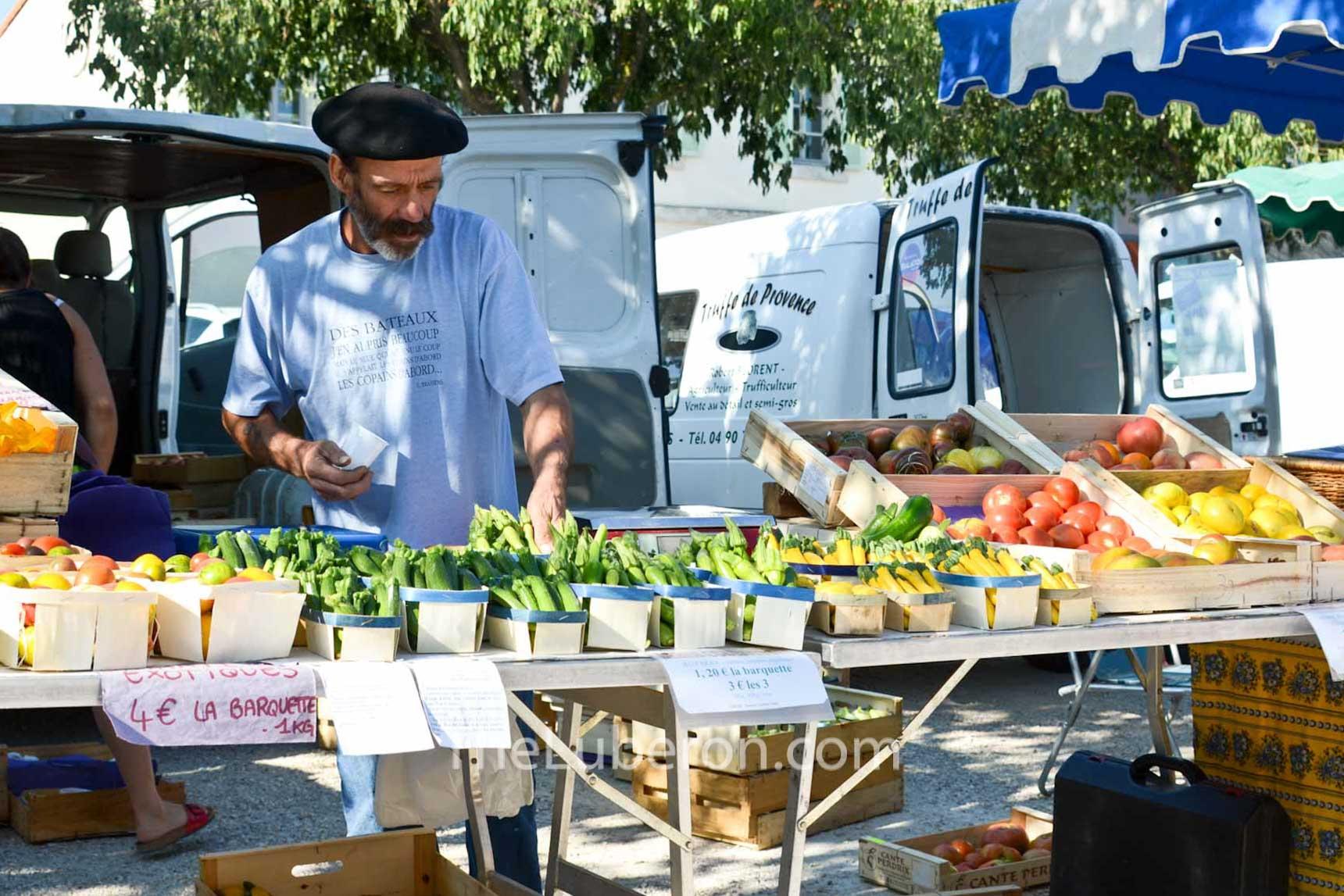 Vegetable stall at Coustellet farmers' market