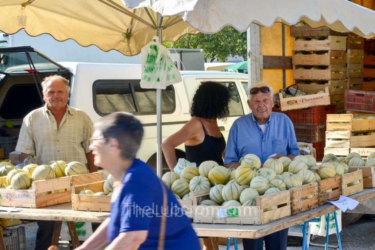 melon vendor at Coustellet farmers' market