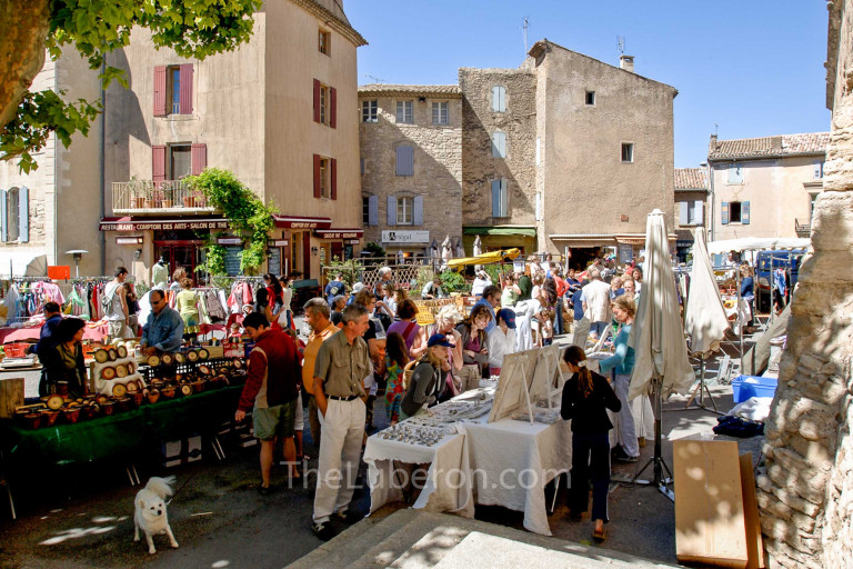 Packed stalls at Gordes market