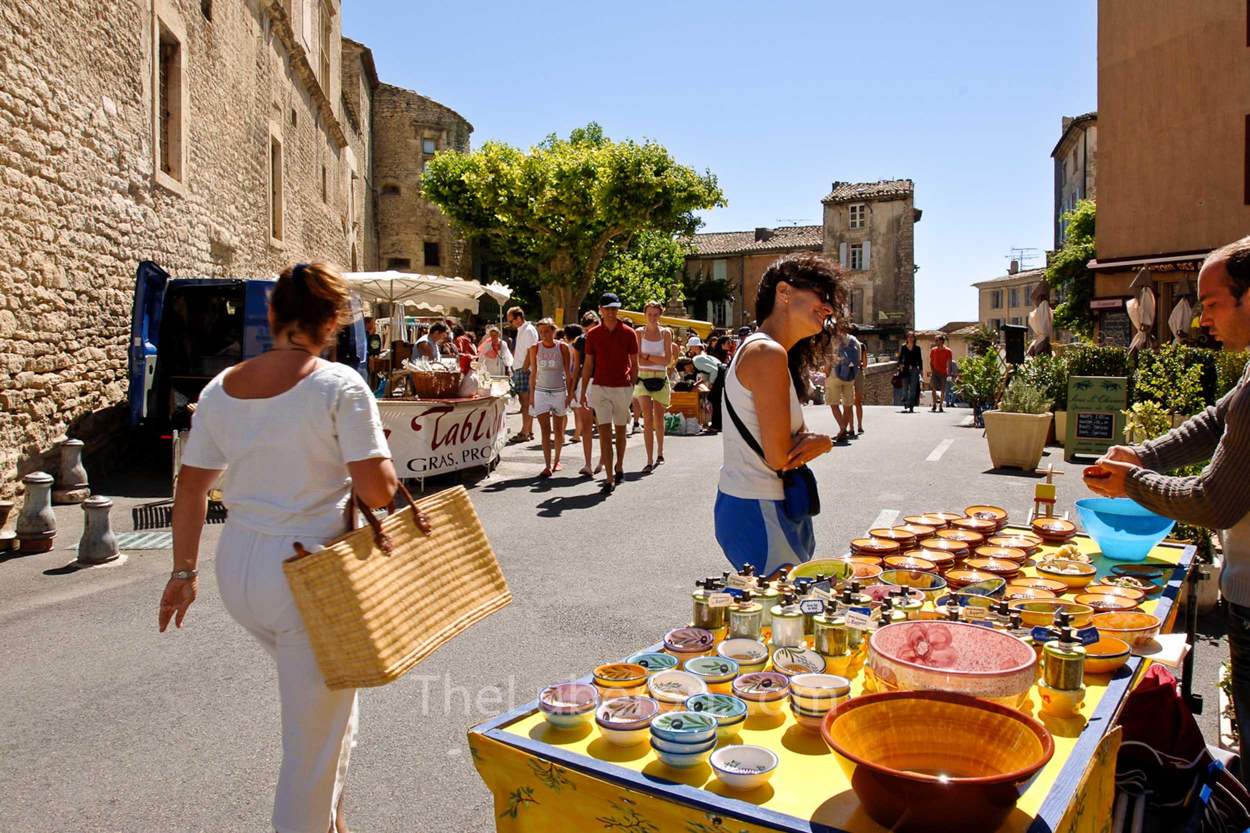 Shoppers at Gordes market