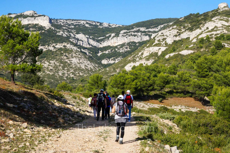 Hikers on path in Luberon