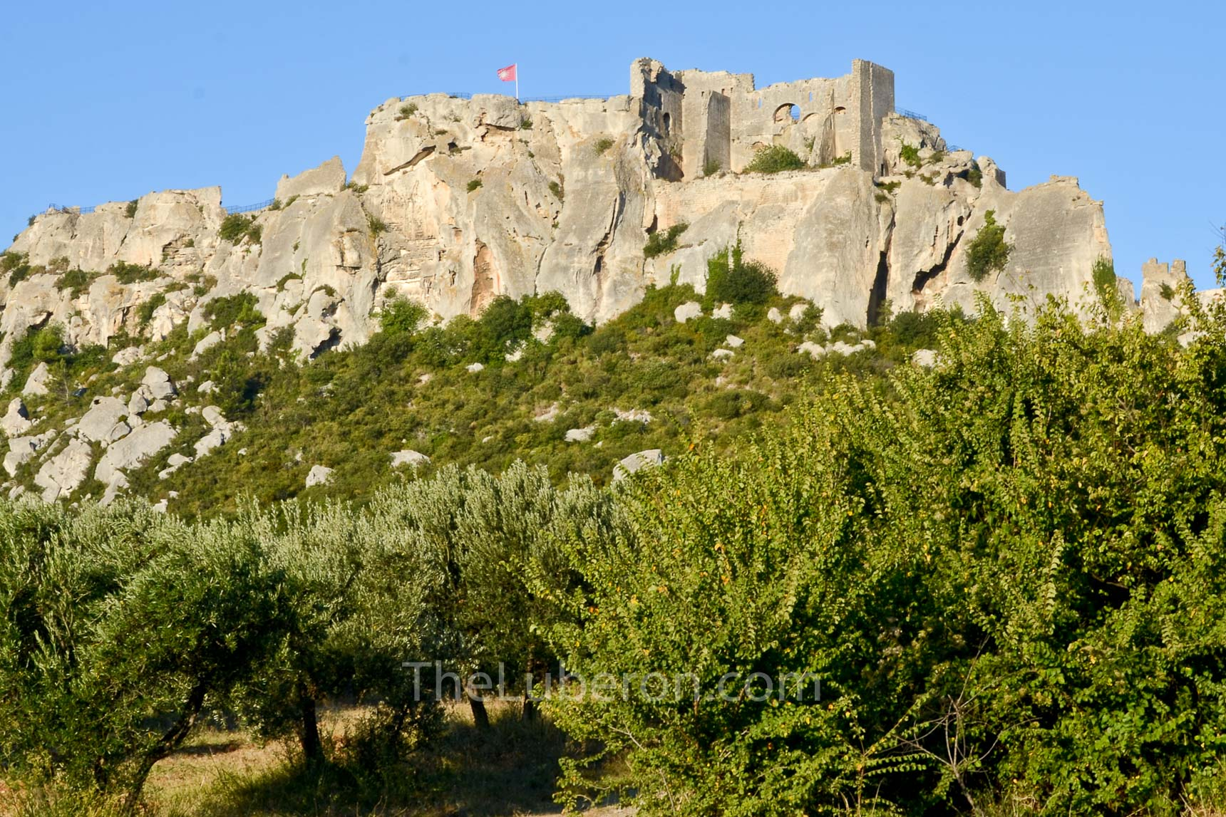 Looking up at Les Baux-de-Provence