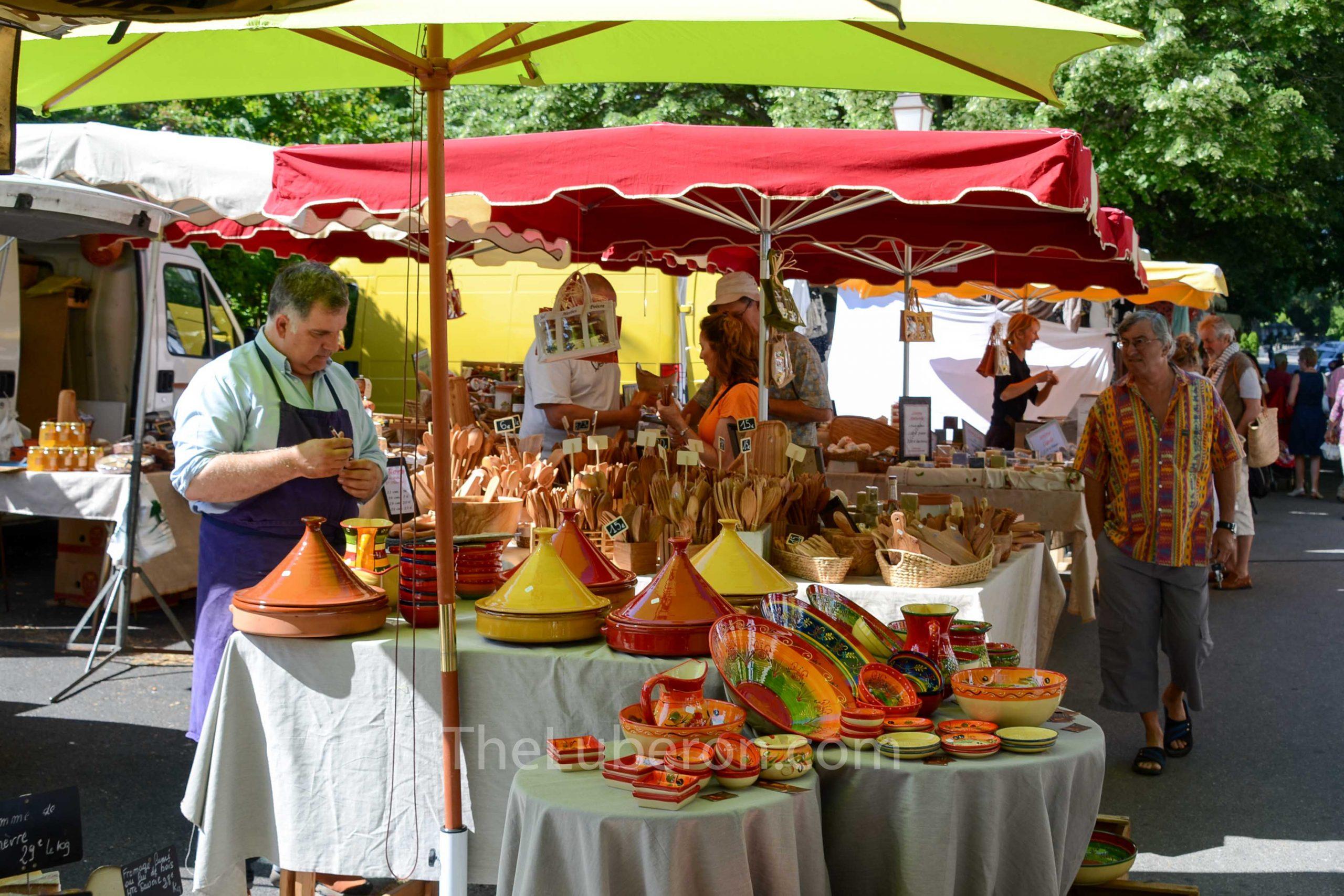 Stalls at Lourmarin market