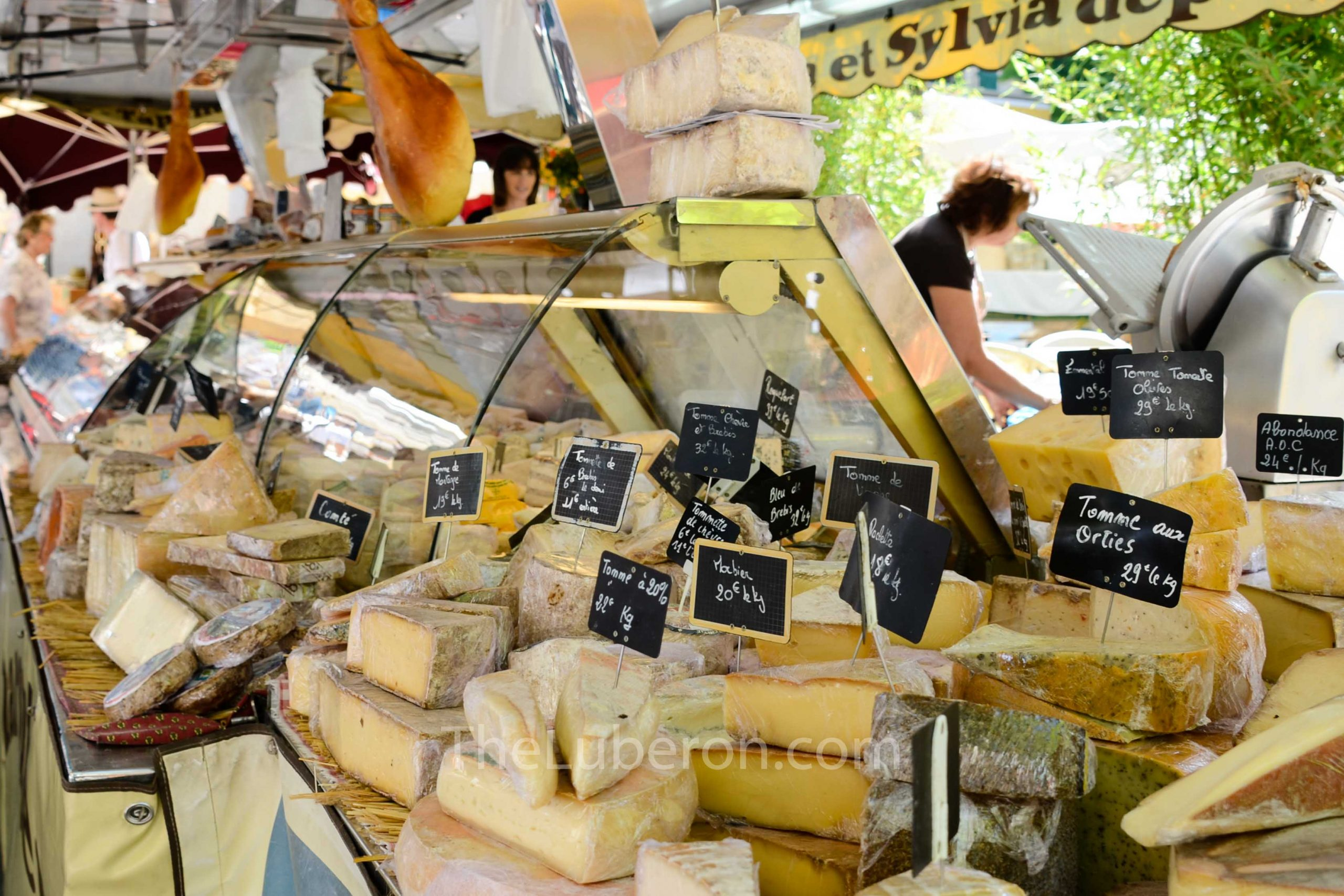 Cheese stall at Lourmarin market
