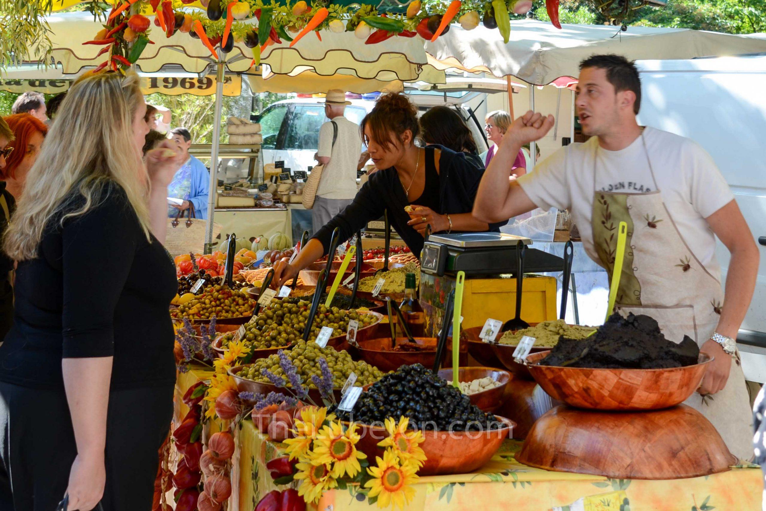 Olive vendor at Lourmarin market