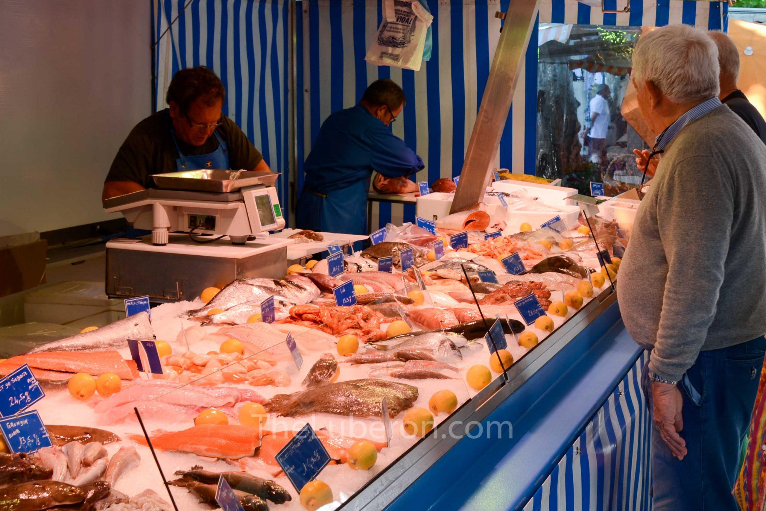 Fish stall at Lourmarin market