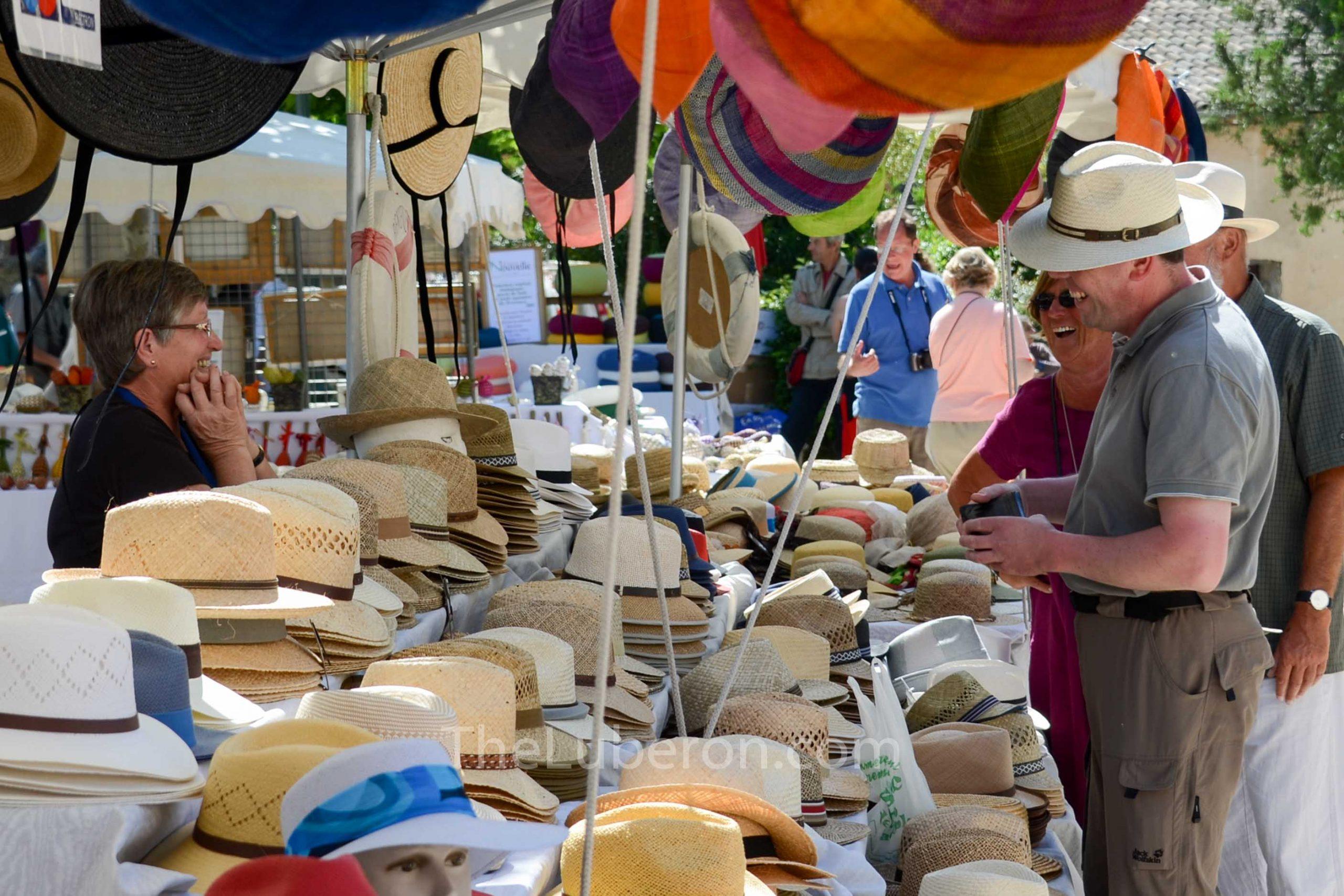 Hat stall at Lourmarin market