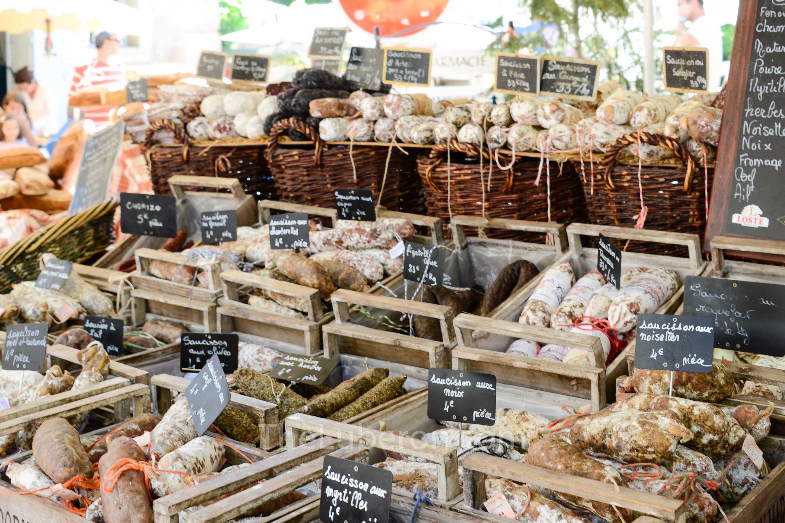 Saucisson stall at Lourmarin market