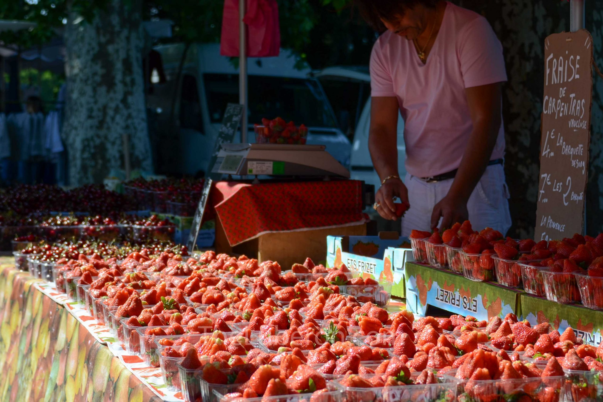 Strawberries for sale at Lourmarin market