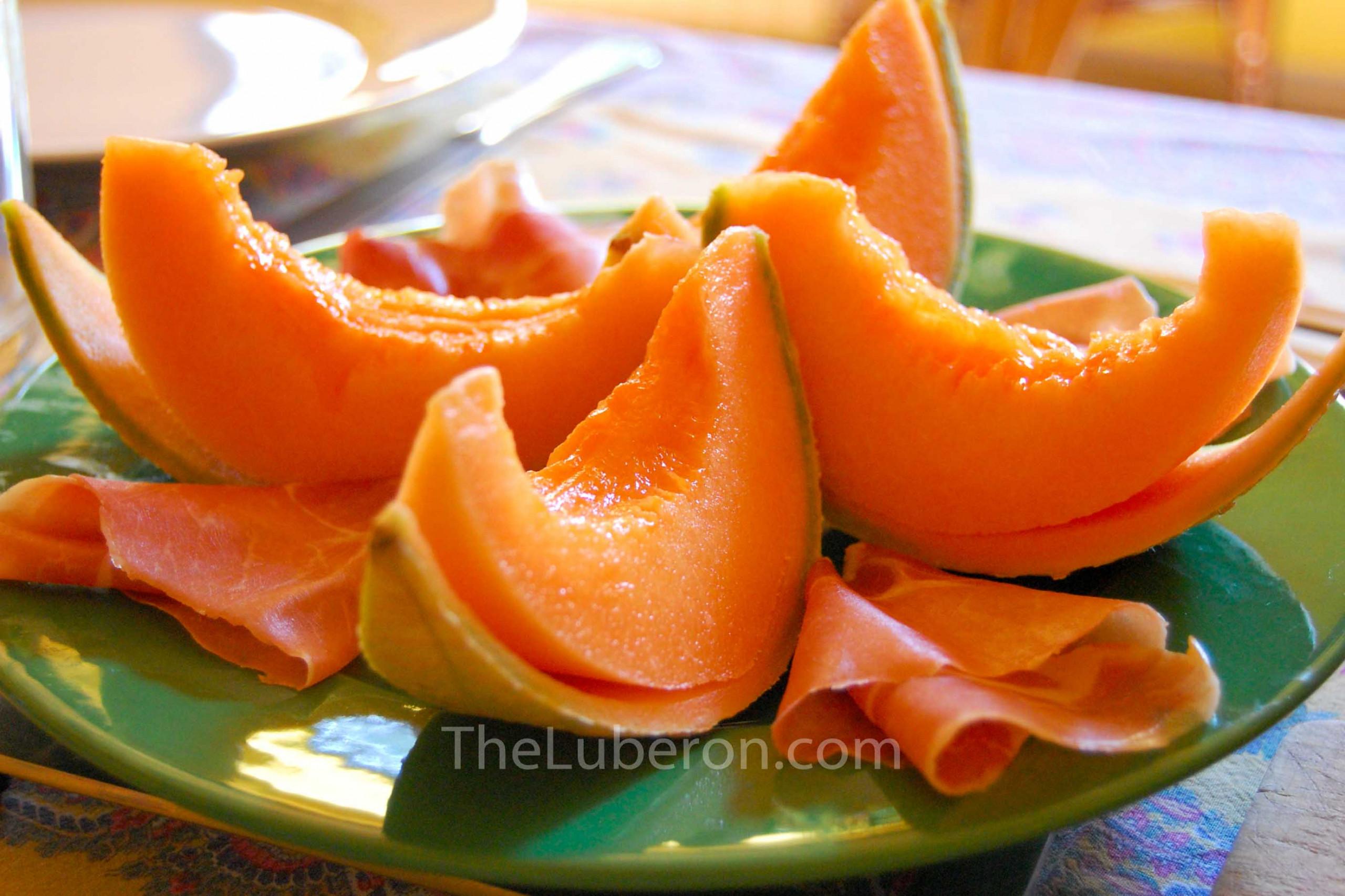 Cavaillon melon sliced on a plate
