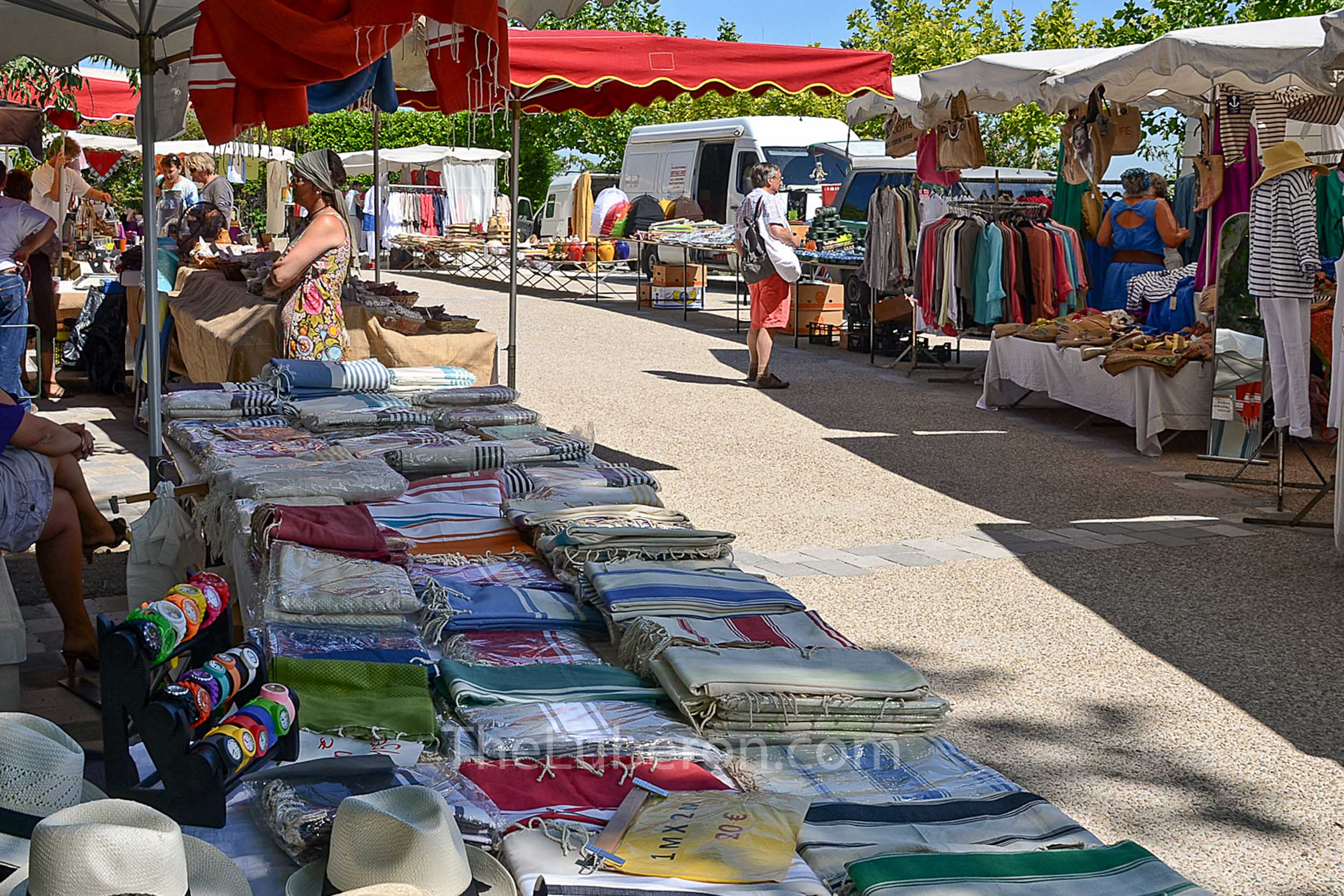 Stalls at Menerbes market
