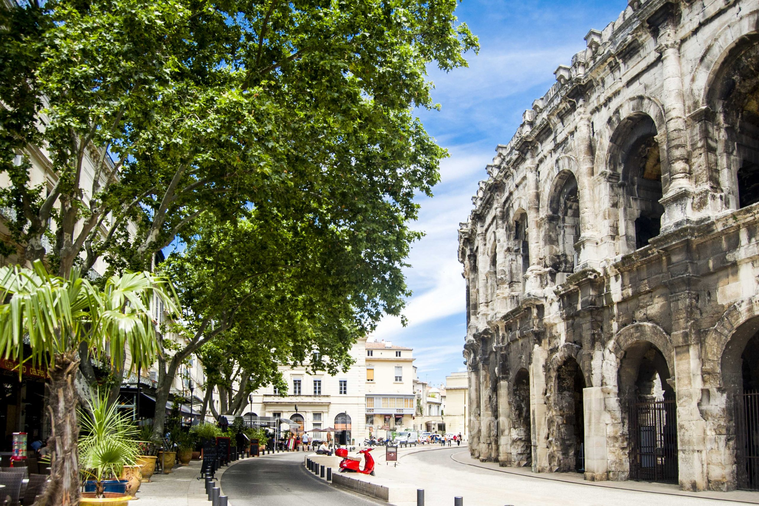 Outside the arenes of Nimes